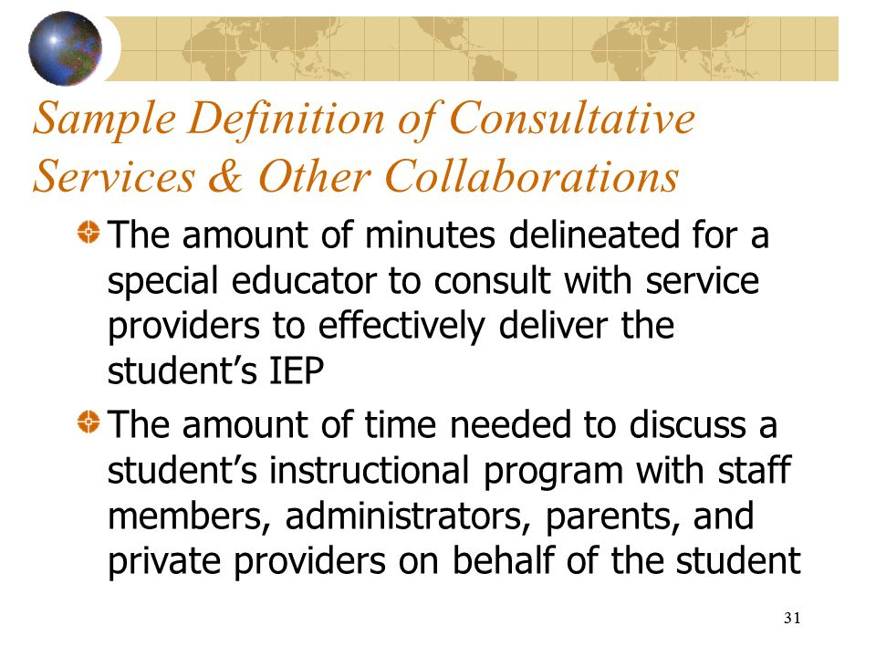 Sample Definition of Consultative Services & Other Collaborations