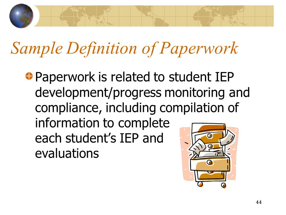 Sample Definition of Paperwork