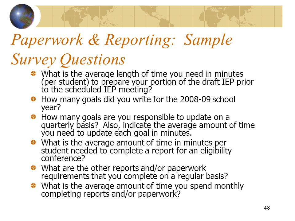 Paperwork & Reporting: Sample Survey Questions