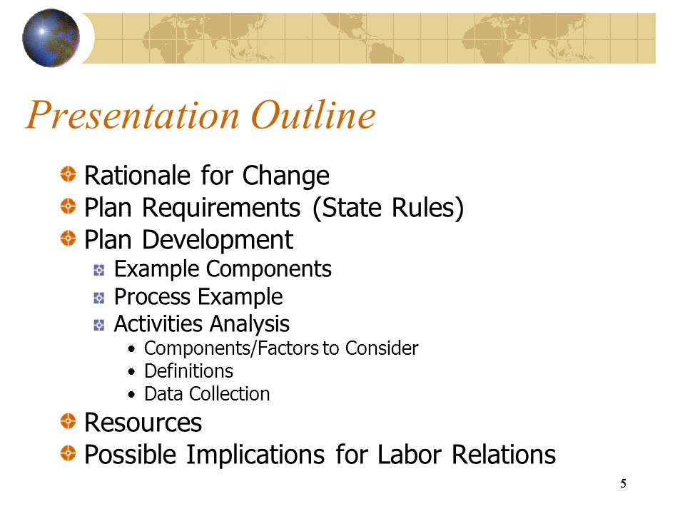 Presentation Outline Rationale for Change