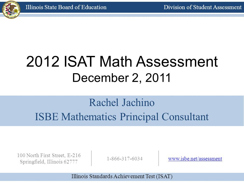 2012 ISAT Math Assessment December 2, 2011