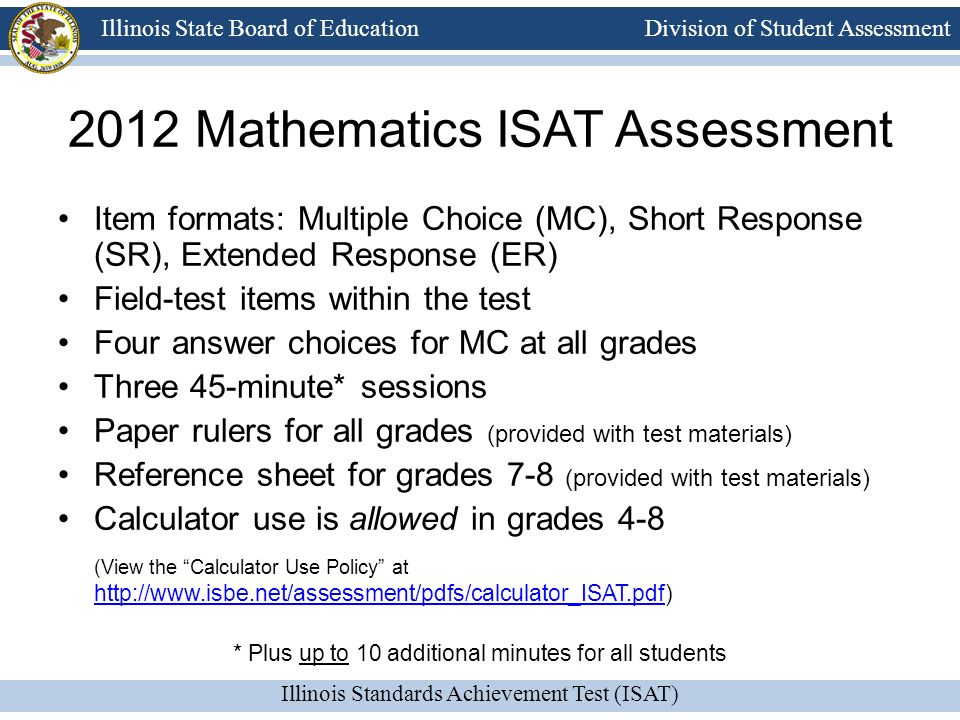 2012 Mathematics ISAT Assessment