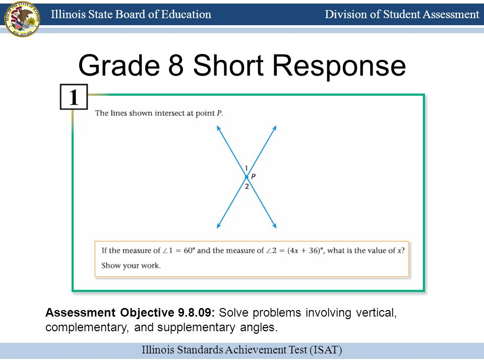 Grade 8 Short Response Assessment Objective 9.8.09: Solve problems involving vertical, complementary, and supplementary angles.