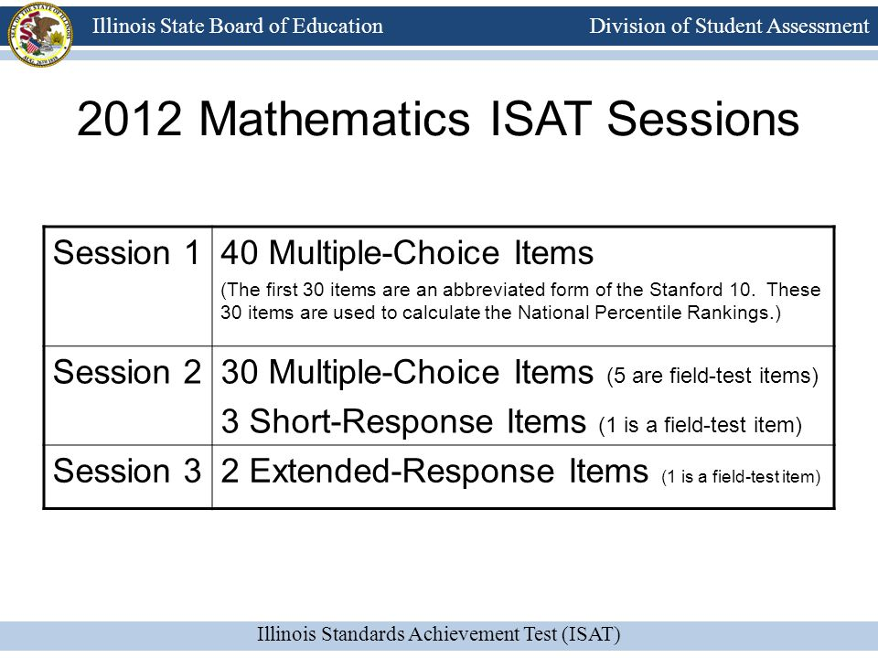 2012 Mathematics ISAT Sessions