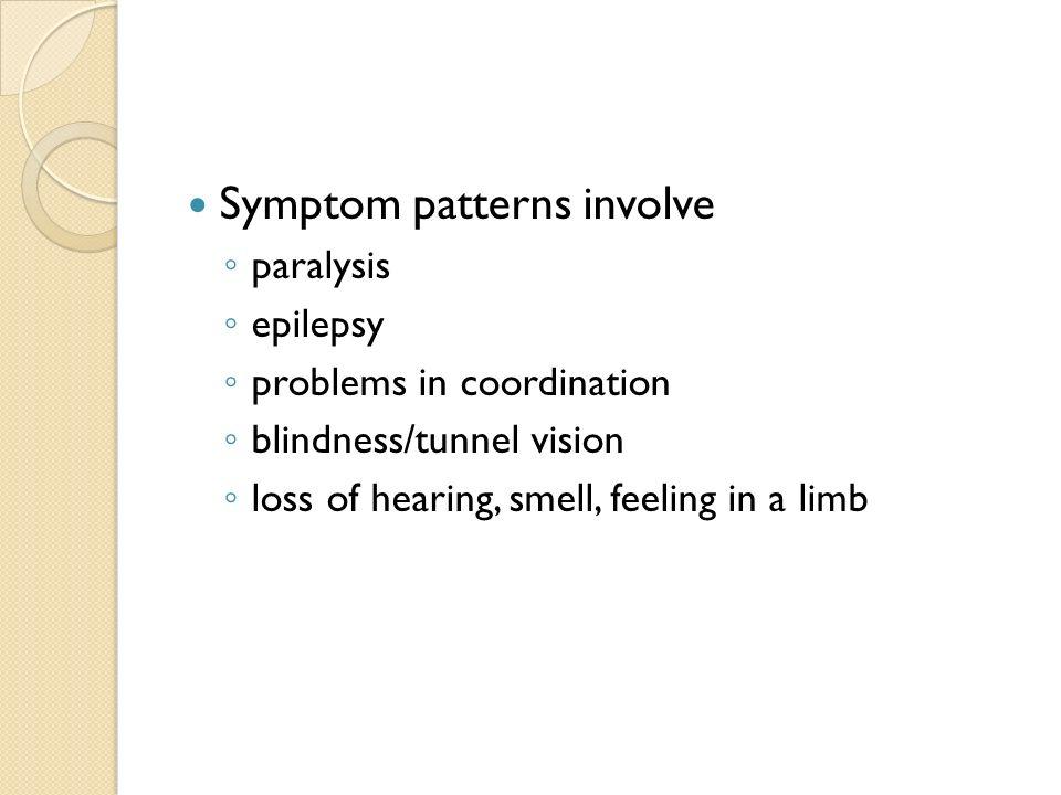 Symptom patterns involve
