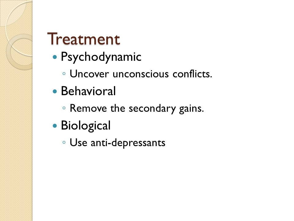 Treatment Psychodynamic Behavioral Biological