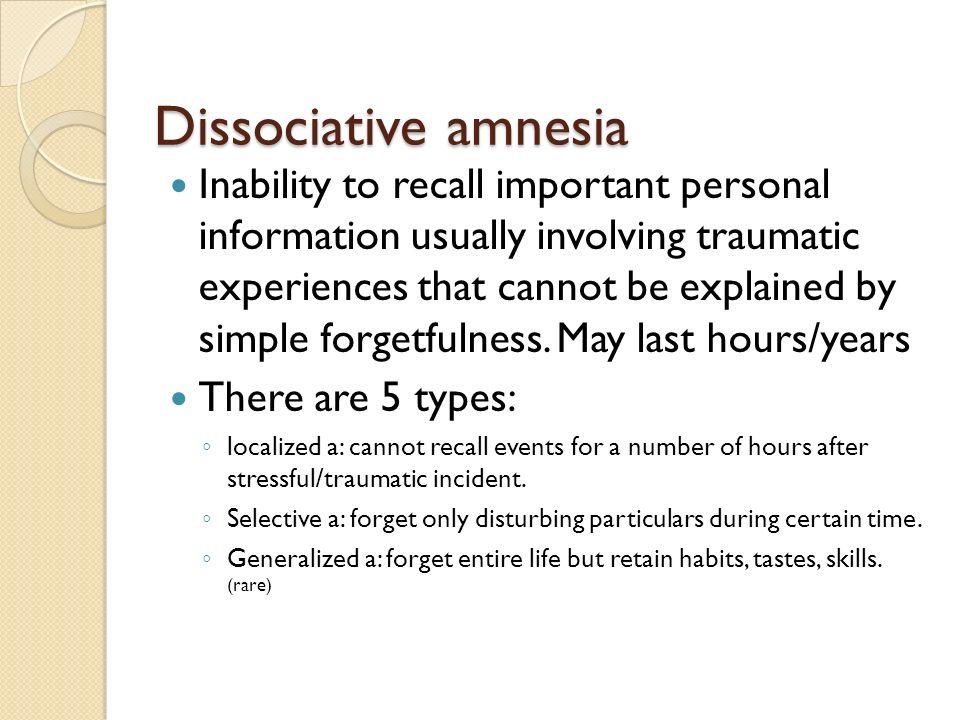 Dissociative amnesia