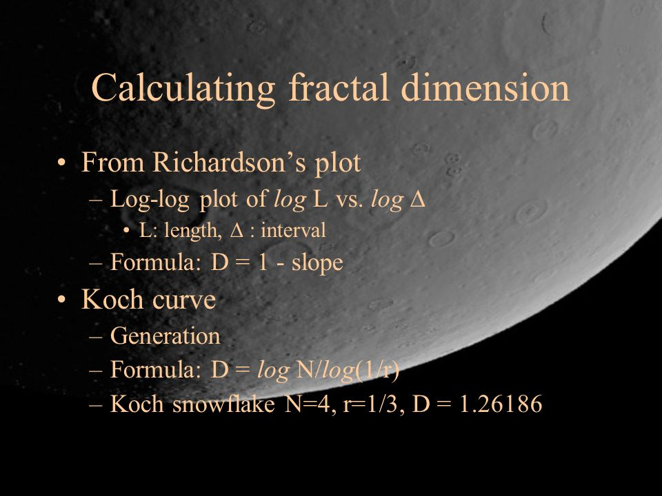Calculating fractal dimension