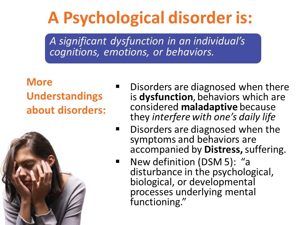 psychological disorder final Mental health foundation: mental disorders mental disorders and psychological distress mental disorders and psychological distress are common.