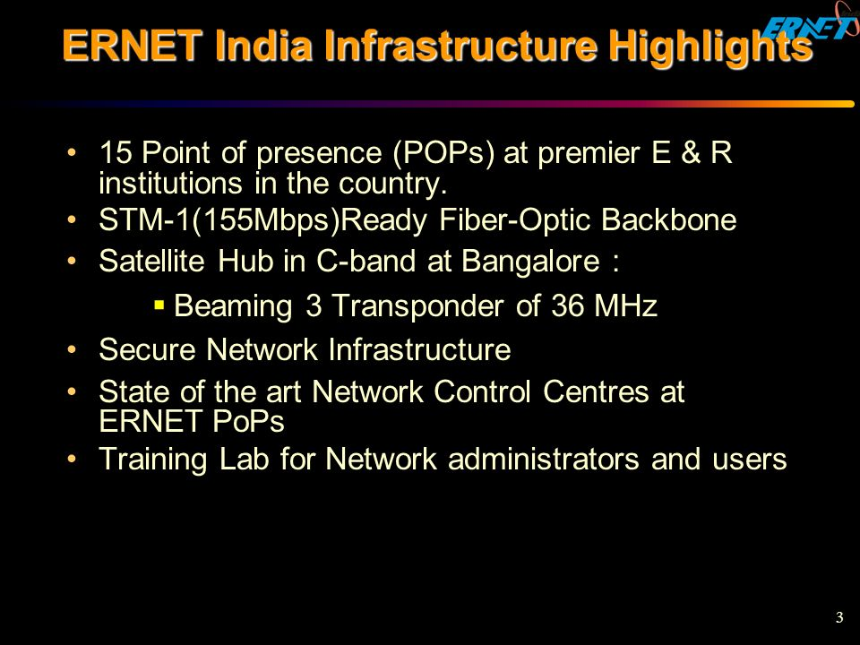 ERNET India Infrastructure Highlights