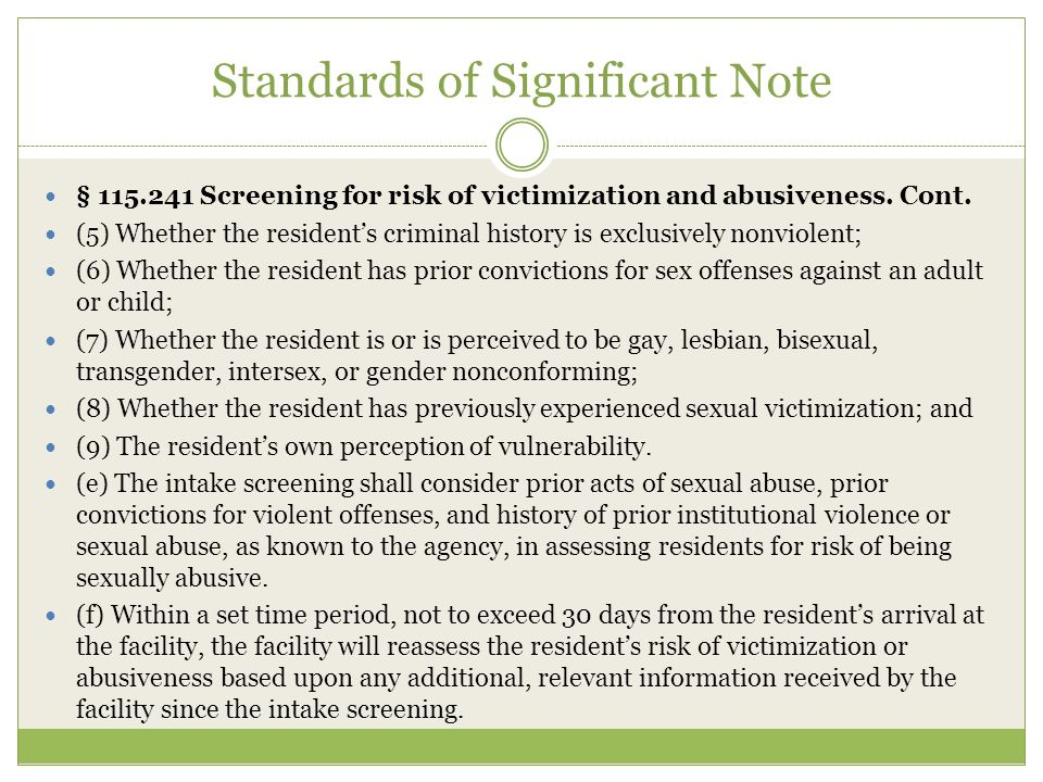 Standards of Significant Note