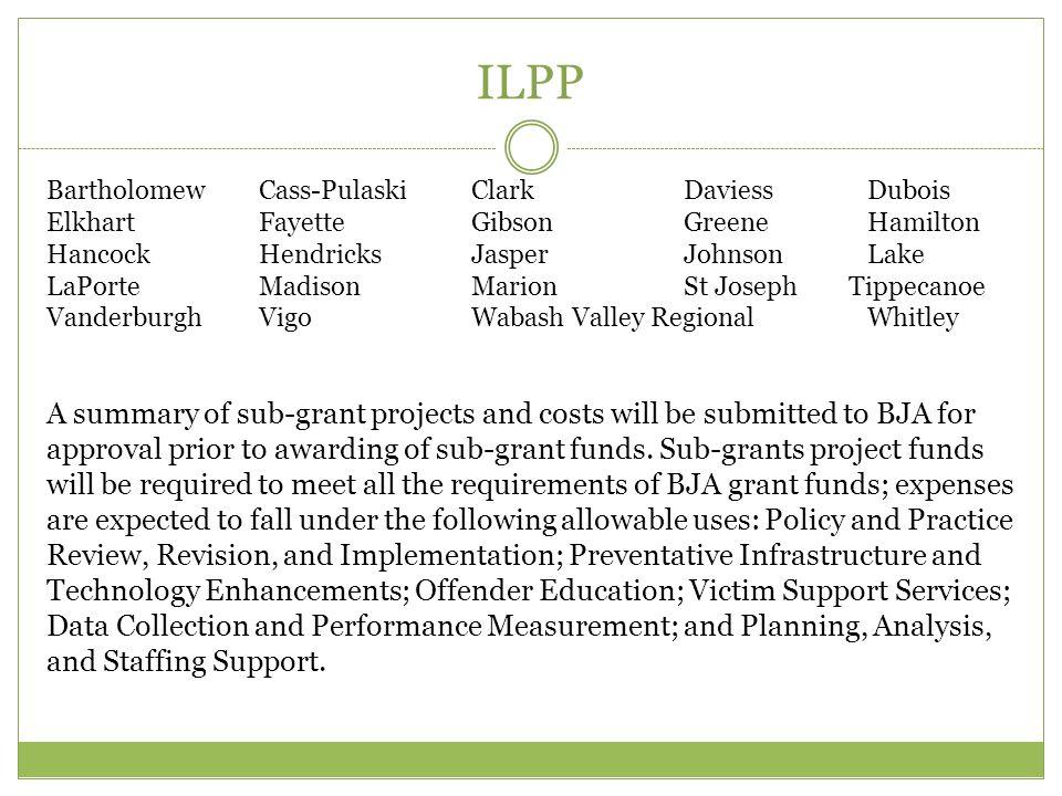 ILPP Bartholomew Cass-Pulaski Clark Daviess Dubois. Elkhart Fayette Gibson Greene Hamilton.
