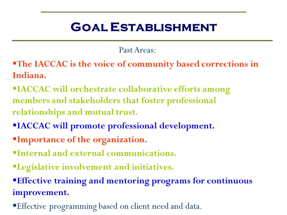 Goal Establishment Past Areas: