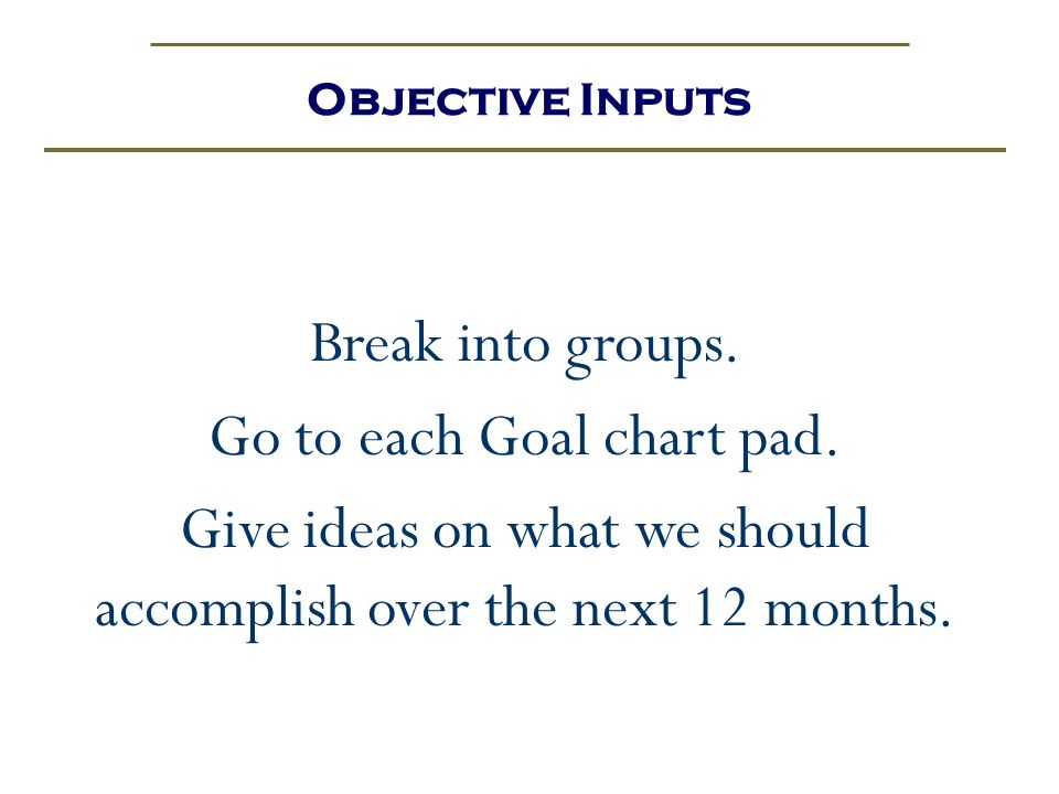 Go to each Goal chart pad.