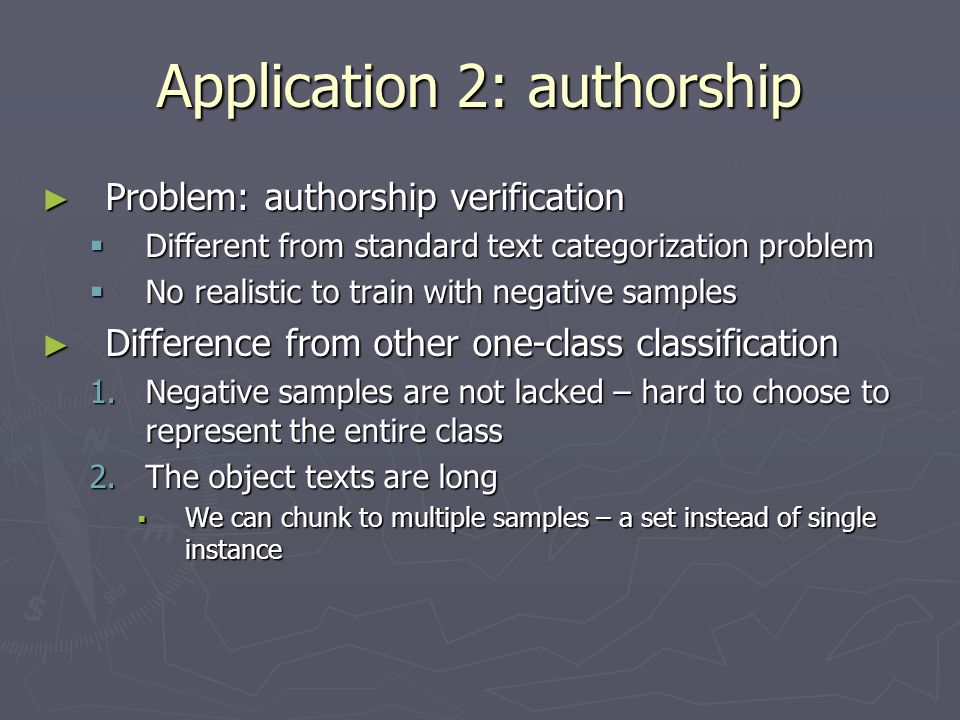 Application 2: authorship
