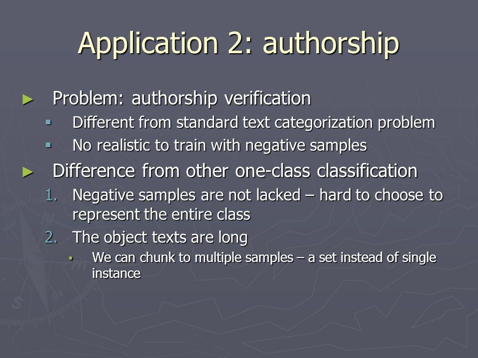 Application 2: authorship