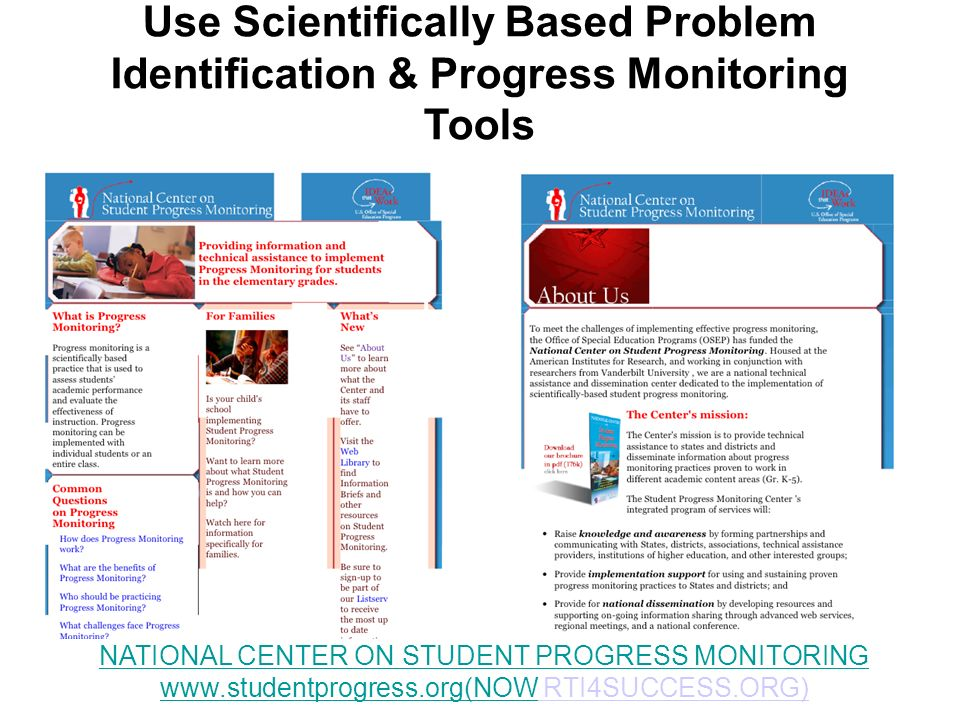 Use Scientifically Based Problem Identification & Progress Monitoring Tools
