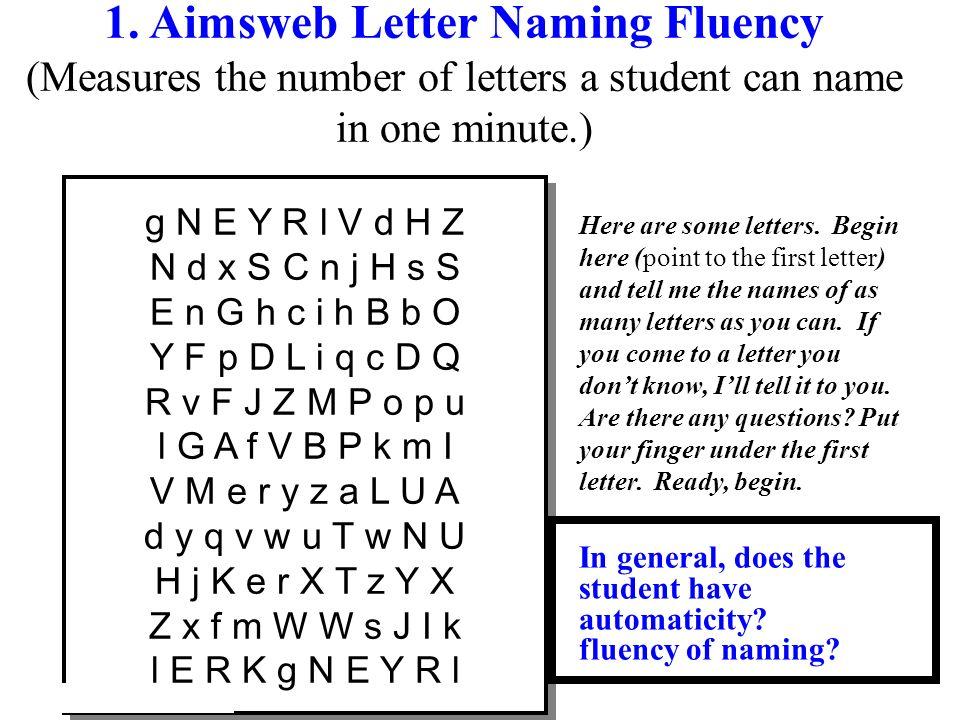 1. Aimsweb Letter Naming Fluency