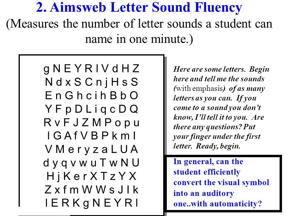 2. Aimsweb Letter Sound Fluency