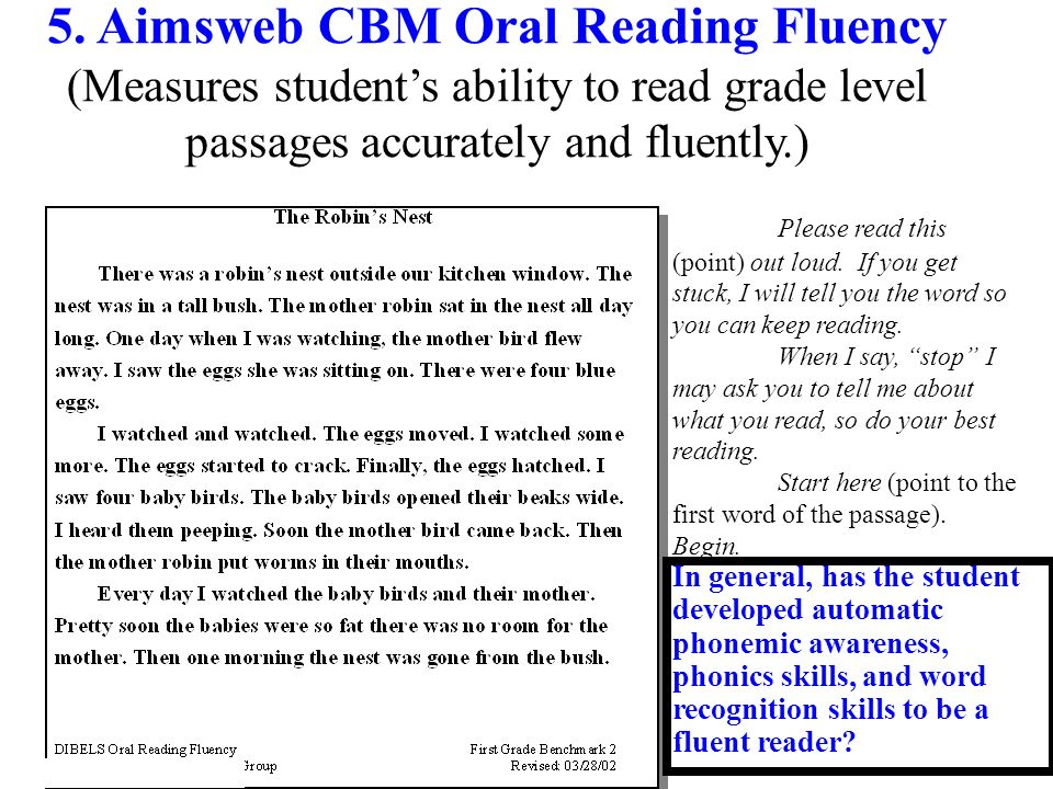 5. Aimsweb CBM Oral Reading Fluency