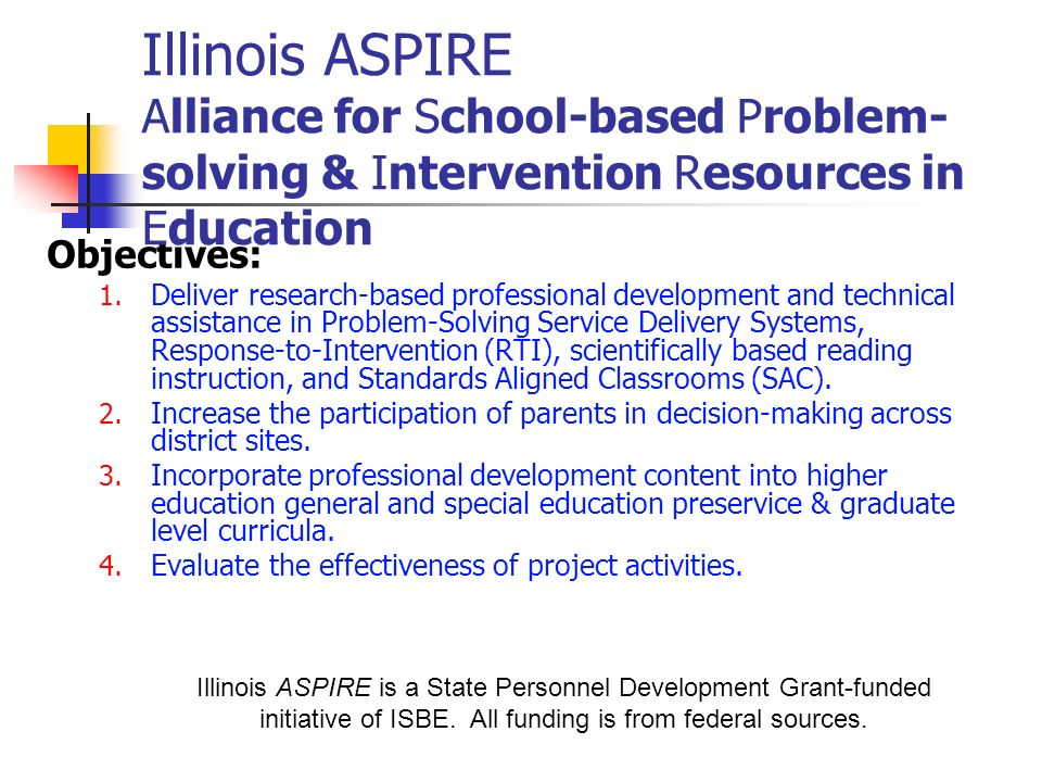 Illinois ASPIRE Alliance for School-based Problem-solving & Intervention Resources in Education