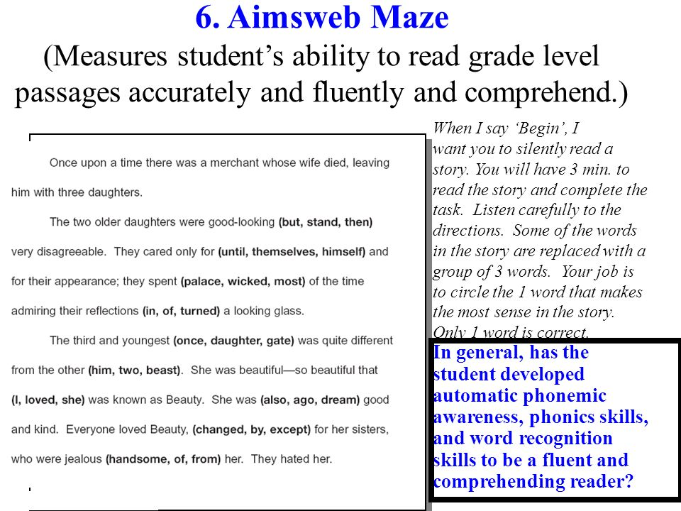 6. Aimsweb Maze (Measures student's ability to read grade level passages accurately and fluently and comprehend.)
