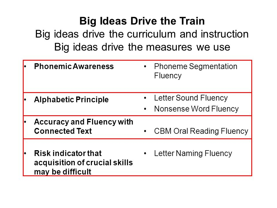 Big Ideas Drive the Train Big ideas drive the curriculum and instruction Big ideas drive the measures we use