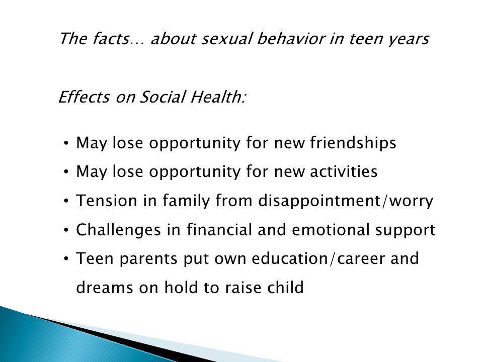The facts… about sexual behavior in teen years