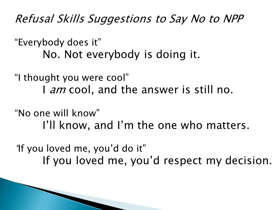 Refusal Skills Suggestions to Say No to NPP