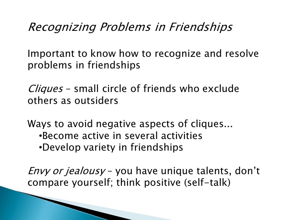 Recognizing Problems in Friendships