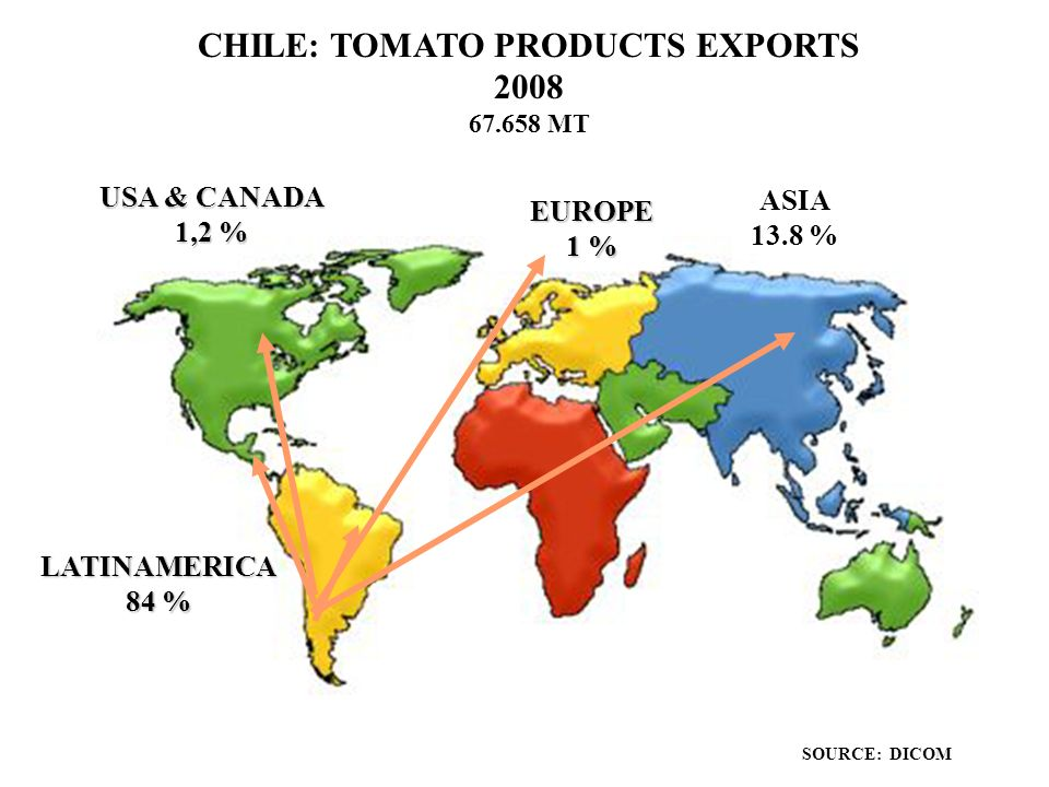 CHILEAN TOMATO INDUSTRY Ppt Download - Map of tomato consumption per capita in us