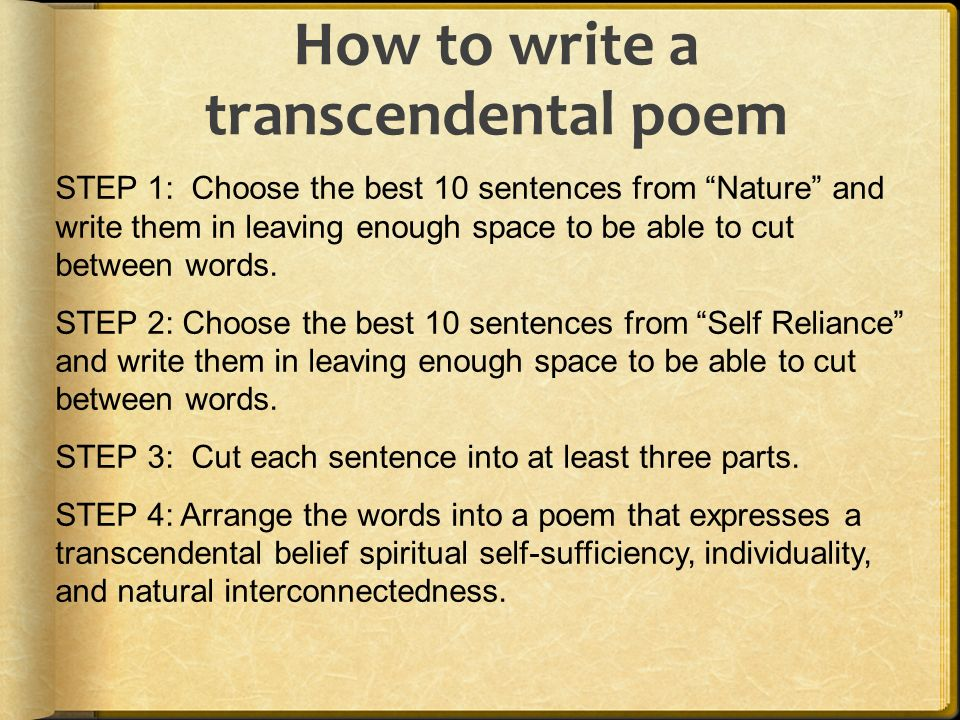 writing a brief synopsis of transcendentalism
