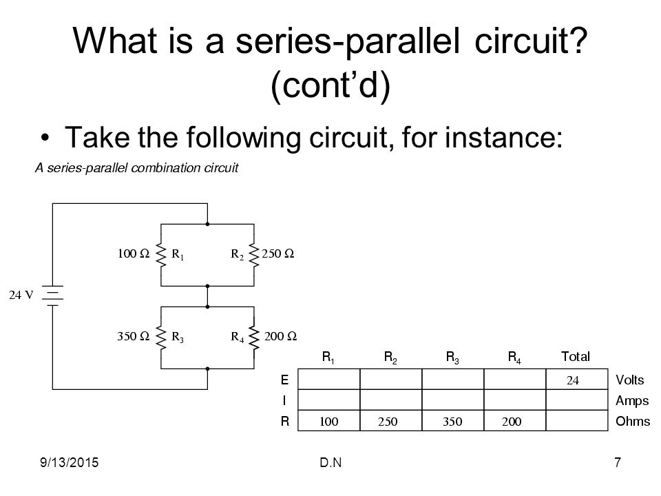 parallel and series combination circuits Calculating resistance in series and parallel resistor networks formulae for series and parallel circuits simplifying circuits for easier calculation working out.