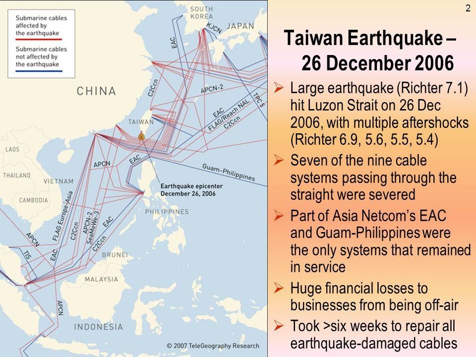 Taiwan Earthquake – 26 December 2006
