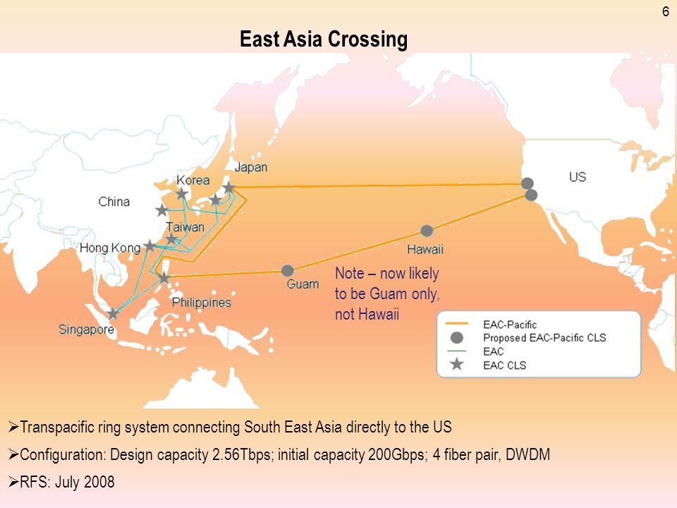 East Asia Crossing Note – now likely to be Guam only, not Hawaii