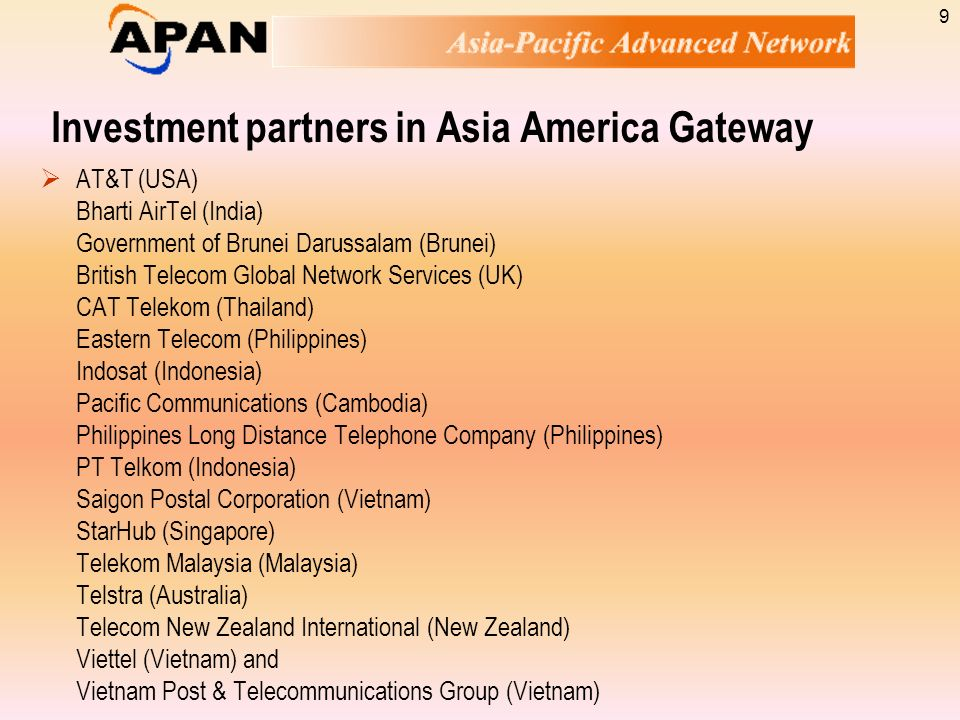 Investment partners in Asia America Gateway
