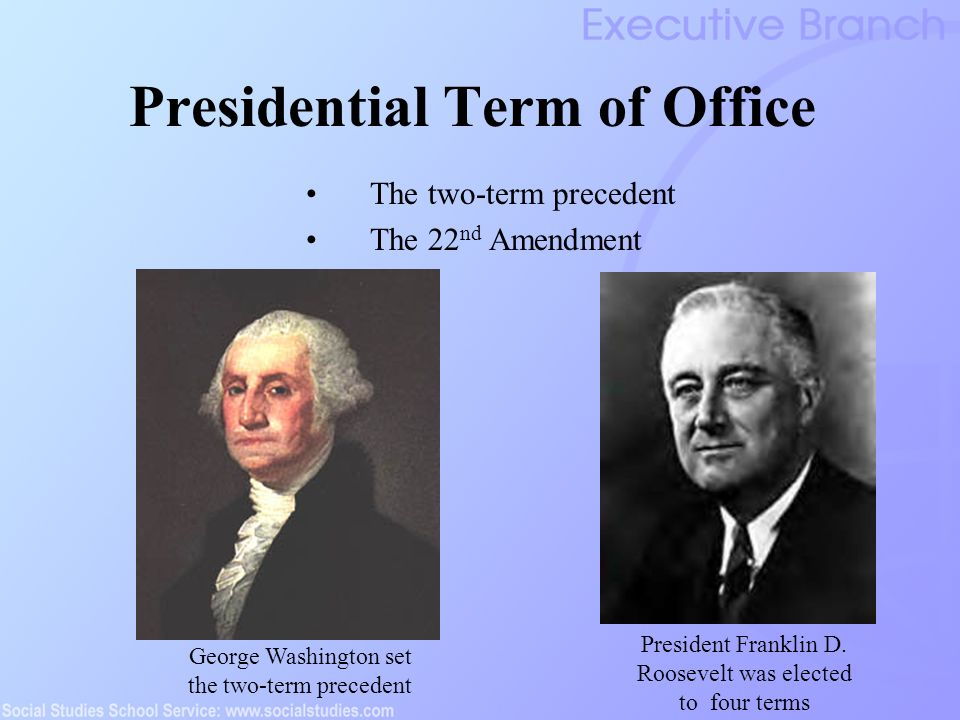 The executive branch ppt video online download for How many times can a president be elected to office