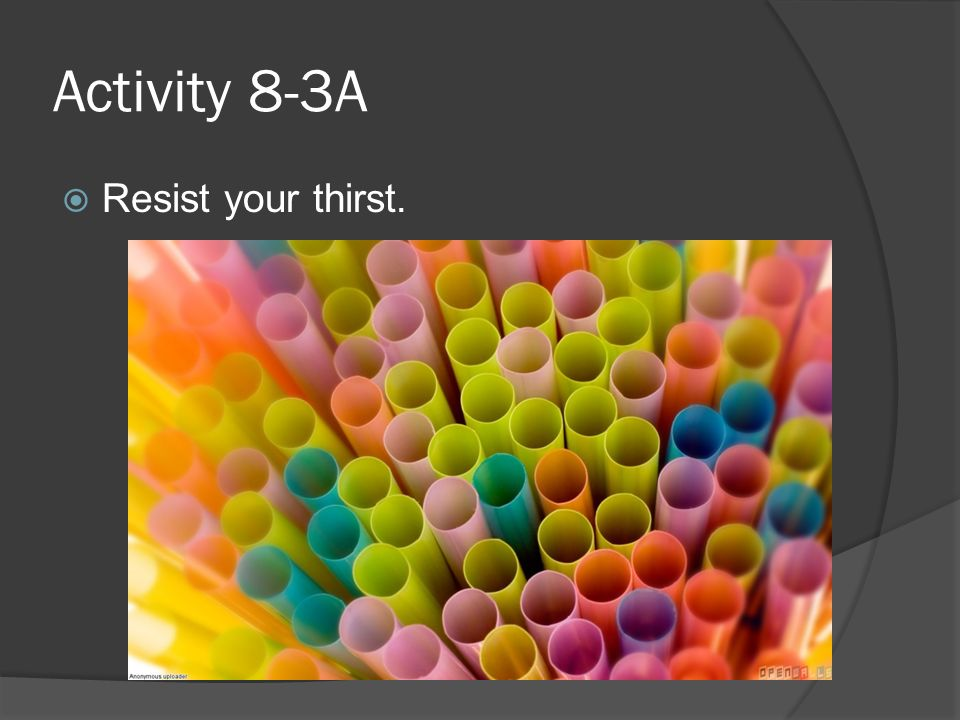 Activity 8-3A Resist your thirst.