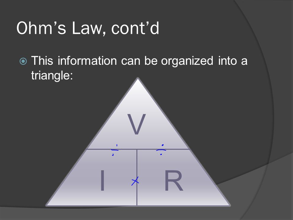 Ohm's Law, cont'd This information can be organized into a triangle: V I R