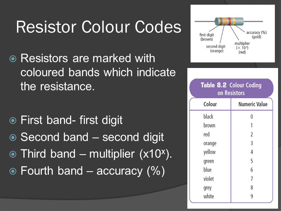 Resistor Colour Codes Resistors are marked with coloured bands which indicate the resistance. First band- first digit.
