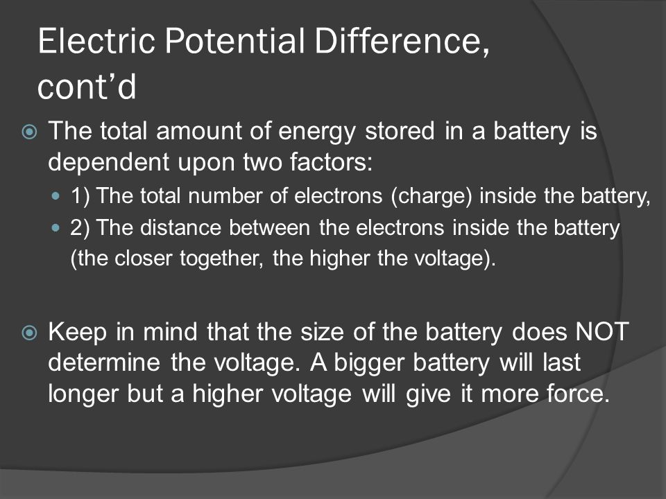 Electric Potential Difference, cont'd