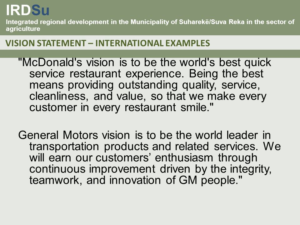 General motors vision statement for Kia motors mission statement