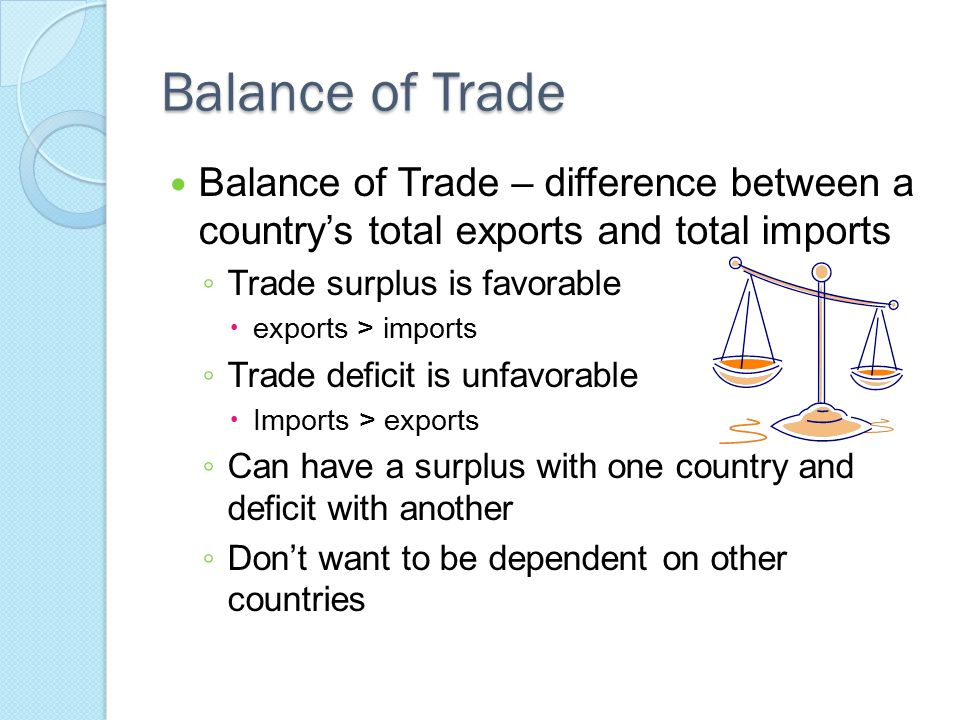 Balance of Trade Balance of Trade – difference between a country's total exports and total imports.