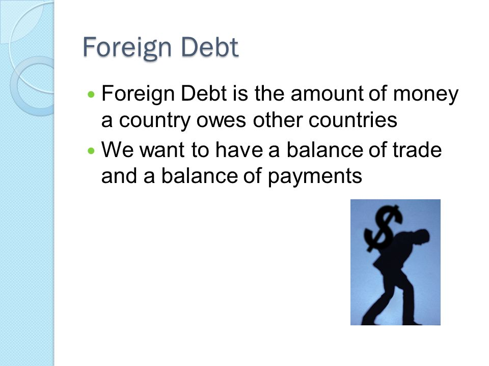 Foreign Debt Foreign Debt is the amount of money a country owes other countries.