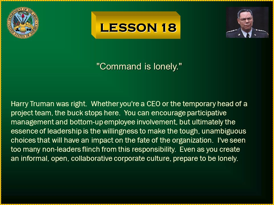 LESSON 18 Command is lonely.