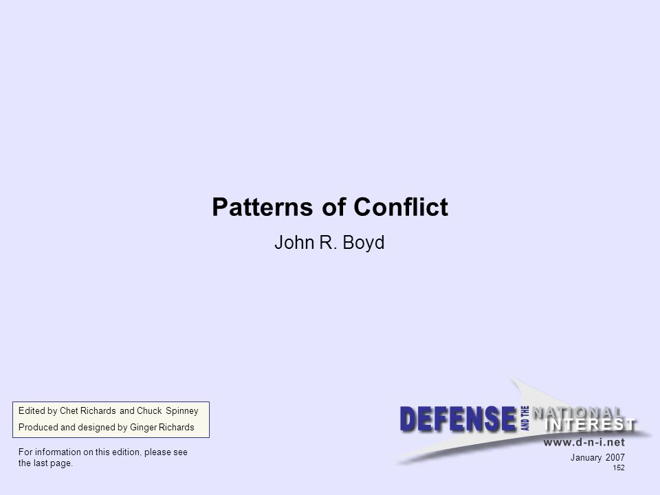 Patterns of Conflict John R. Boyd