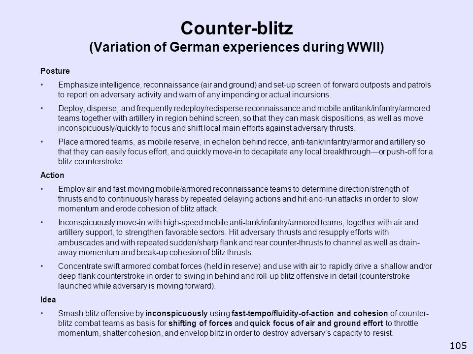 Counter-blitz (Variation of German experiences during WWII)