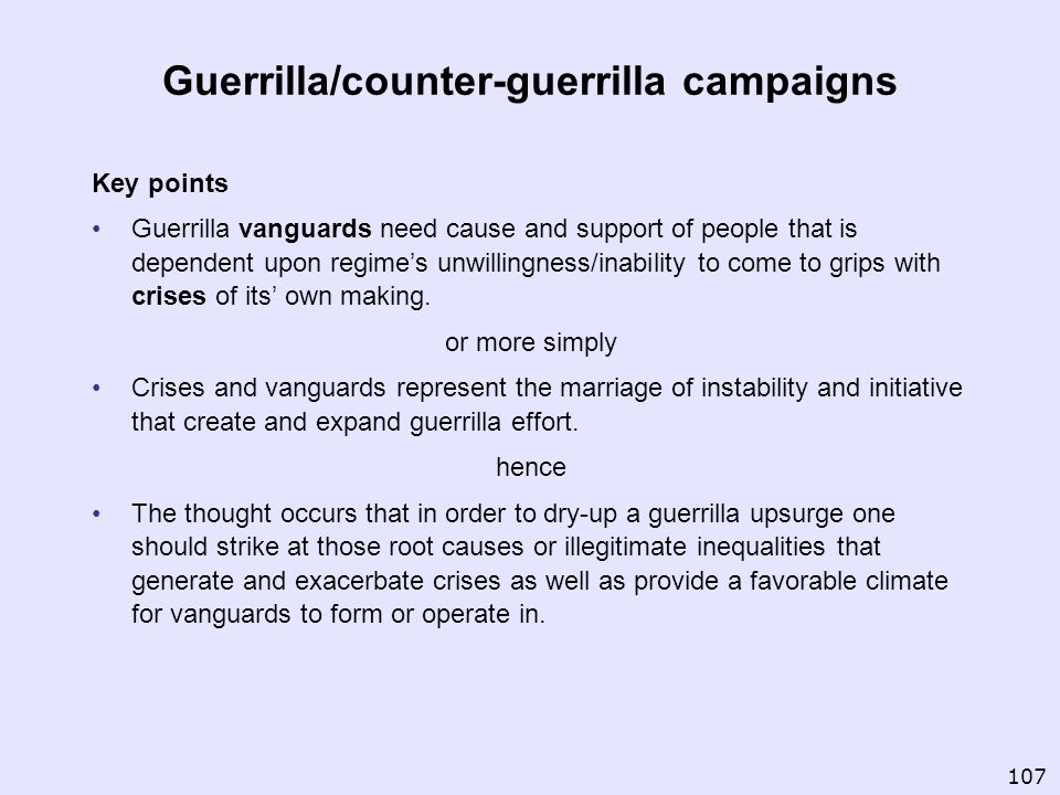 Guerrilla/counter-guerrilla campaigns