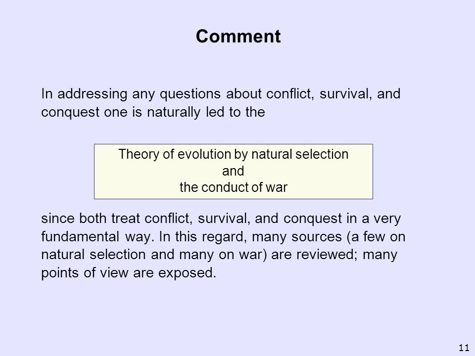 Theory of evolution by natural selection and the conduct of war