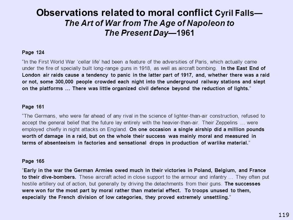 Observations related to moral conflict Cyril Falls—The Art of War from The Age of Napoleon to The Present Day—1961